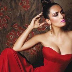 Salma Hayek in a strapless red dress