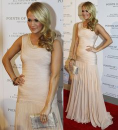red carpet side swept hair photo | Carrie Underwood long side-swept curly hairdo went perfectly with her ...