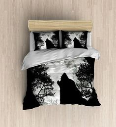 Wolf Moon Bedding - Wolf Silhouette Duvet Cover, Moon Bedding Set, Modern Silhouette Decor, Black Duvet Set  - Available in four different size (