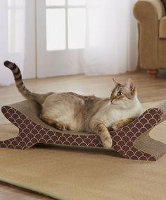 Look what I found on #zulily! Beige & Brown Curved Lounge Cat Scratcher #zulilyfinds