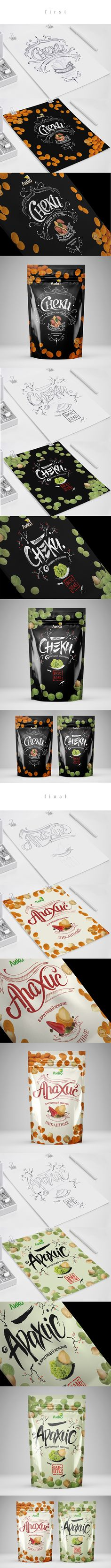 Sneck Liko by Na Toon, Krasnodar, Russian Federation on Behance curated by Packaging Diva PD. love the story behind the composition of this candied nuts (I think) packaging by Wow Design don't you?
