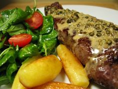steak au poivre - one of my favorite meals. Peppercorn steak can make a day better and so easy to prepare.
