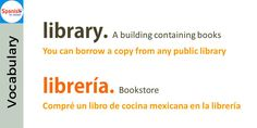 Don't be tricked by English- false cognates: library / librería Spanish Cognates, Spanish Vocabulary, Spanish English, English Lessons, Learning English, Learning Spanish, False Friends, Spelling, Meant To Be