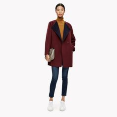 Double-Face Wool-Cashmere Collarless Coat