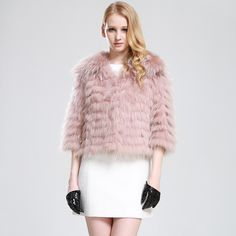Natural Raccoon Fur coat Female Short Pink Fur Coat For Women Genuine Raccoon Fur Jacket Autumn Fashion $685.94