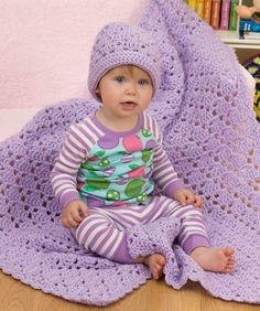 "Free crochet pattern for ""One Ball Baby Blanket and Hat""!"