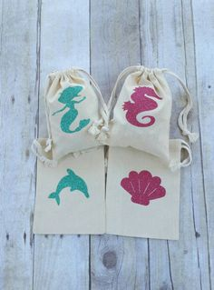 Birthday Party Favor Bags, Mermaid, Dolphin, Seahorse, Seashell, Cotton Muslin Bags, Drawstring, 5x7, Glitter Bags, Set of 4, Persoanlized by TittleBits on Etsy