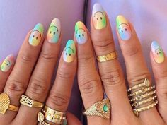Whether it's bright and bold or soft and pastel, tie-dye nail art is one of our favorite trends right now. Take a look at some of our favorite tie-dye manicures. Aycrlic Nails, Swag Nails, Cute Nails, Coffin Nails, Manicure, Halloween Acrylic Nails, Best Acrylic Nails, Hippie Nails, Birthday Nail Art