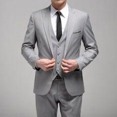 Men's Formal Wedding Gray Suit (Blazer And Pants) One Button Gray Slim Casual Men Business Suits Jacket Light Grey Suits, Grey Suit Men, Gray Tux, Black Suits, Grey Suit Wedding, Wedding Men, Formal Wedding, Wedding Dinner, Wedding Ideas