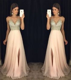 Simple Wedding Dress, New Arrival Prom Dress,Modest Prom Dress,sparkly Crystal Beaded V Neck Open Back Long Chiffon Prom Dresses 2017 Pageant Evening Gowns With Leg Slit AilsaBridal Sparkly Prom Dresses, V Neck Prom Dresses, Prom Dresses 2017, Grad Dresses, Modest Dresses, Dance Dresses, Ball Dresses, Pretty Dresses, Dress Outfits