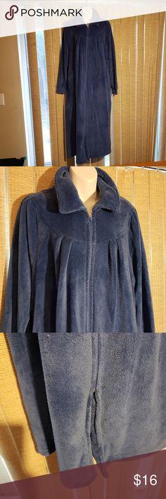 c4ca8fbb32363b Blue long full length zipper women's bath robe This blue full length front  zipper bath robe