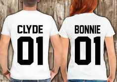 Bonnie Clyde T shirts Couples Collection, Bonnie Clyde 01 Couple Tee shirt, Black Bonnie Clyde T Shirts, Shirts for Couples by somanygreatthings on Etsy
