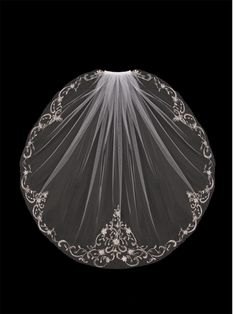 Elbow Length Wedding Veil with Beaded Silver Embroidery V704SE - Affordable Elegance Bridal -