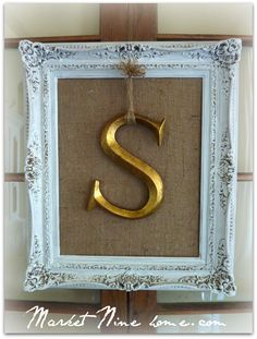 White frame w/ initial on burlap tutorial