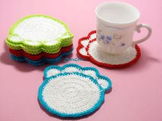 Crochet Paw Coasters Doily CoastersDrink by ColorificThings