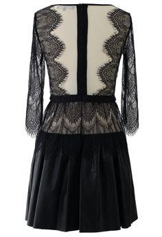 Eyelash Lace Dress with Faux Leather Skirt