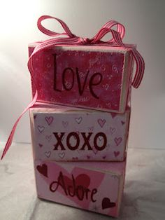 Valentine wooden blocks.  Maybe use tissue boxes instead!