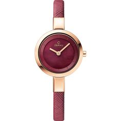 Obaku Watches Womens Mother of Peal Leather Watch - Purple/Rose... ($112) ❤ liked on Polyvore featuring jewelry, watches, purple, buckle jewelry, rose gold jewelry, analog wrist watch, red gold jewelry and leather jewelry