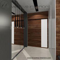 Projekt wiatrołapu Inventive Interiors - oświetlenie lustra w szarym wiatrołapie