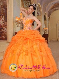 959c08aa2e Buy orange sweetheart organza appliques sweet 15 dresses in ballycastle  from vintage quinceanera dresses collection