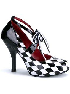 """Women's """"Harlequin"""" Heels by Funtasma (Black/White) #InkedShop #heels #shoes #footwear"""