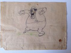 1934 Walt #Disney Dognapper #Mickey Mouse Peg Leg Pete Production Cel Drawing from $750.0