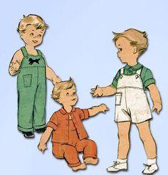 1950s Vintage Advance Sewing Pattern 6300 FF Toddler Boys Overalls & Jacket Sz 2