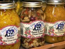 Amish Chow Chow.  1 c. chopped green tomatoes  1 c. chopped bell peppers  1 c. chopped cabbage  1 whole cucumber, chopped  1 c. chopped onions  2 qt. water  1/4 c. salt  1 c. chopped carrots  1 c. chopped green beans  2 tsp. mustard seed  2 tsp. celery seed  2 c. vinegar  2 c. sugar