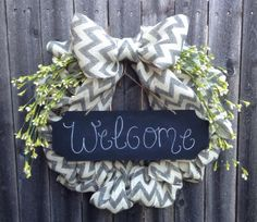 Gray and White Burlap Chevron Bubble Wreath with Chalkboard and Floral Accents