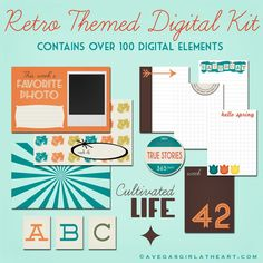 Free Printable Retro Project Life Kit- She has an amazing gift, and I'll be buying from her on etsy!