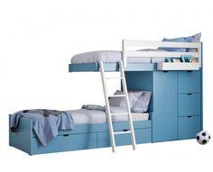 Lits superpos s julien 2x90x190cm armoire int gr e taupe et rouge prix - Lits superposes decales ...