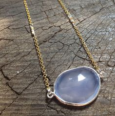 Blue chalcedony gold necklace  by MetalStudioThailand on Etsy,