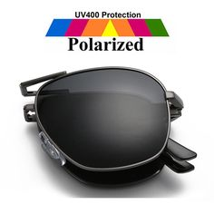 Fashion Gray Polarized Sunglasses Metal Frame Folding Designer Glasses for Mens