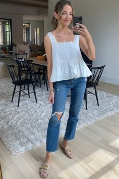 White Tank, Blue Jeans, Style Inspiration, My Style, Outfits, Shopping, Tops, Fashion, Moda