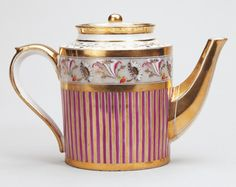 Théière litron, 1799. Hard-paste Paris porcelain tea pot. White ground with gilded and polychrome decoration, combining stripes in mauve and gold with flowers. The tea pot, which is tubular in shape, has a gilded handle and spout. | Royal Collection Trust