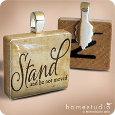 STAND : a pendant charm made on a Scrabble Game Tile wood piece by HomeStudio. $9.00, via Etsy.