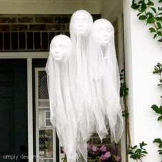 Hi it's Ashley again from @simplydesigning!  Next up is an oldie but a goodie.  And these are just in time for Halloween!  Looking to spookify your front porch?  Then create some of these fun and creepy Hanging Ghost Heads.  Seriously these guys creep me out!  But they are the perfect addition to your Halloween front porch this year! Click the link in profile to get all the details.