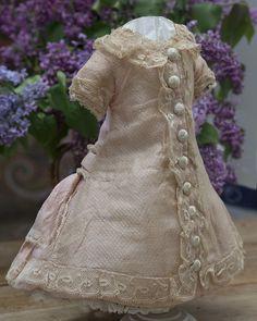 """Antique French Original  Tea-rose Silk Dress for Jumeau Bru Steiner Eden Bebe or German doll about 18-19"""" (46-49 cm)"""