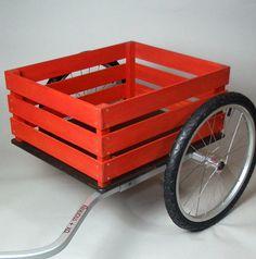 Aluminum & Wood Bicycle Trailer Farm Cart Model by oxandmonkey Bike Cargo Trailer, Cargo Trailers, Cargo Bike, Bike Wagon, Cruiser Bicycle, Fat Bike, Bike Cart, Retro Bike, Bicycle Accessories