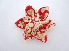 Large Red and Cream Flower Hair Clip by LemonandBees on Etsy, $5.00