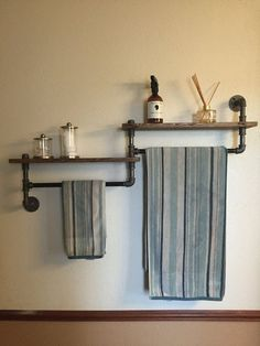 Items similar to Industrial bathroom towel rack, bathroom shelf, towel rack, double towel rack, rustic bathroom on Etsy Rustic Bathroom Decor, Modern Farmhouse Bathroom, Rustic Bathrooms, Steampunk Bathroom Decor, Industrial Bathroom Accessories, Bedroom Rustic, Towel Rack Bathroom, Bathroom Shelves, Towel Racks