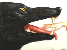 Wolf with open mouth illustration Composition Photo, Grafik Design, Red Riding Hood, Dragon Age, Dark Art, Art Inspo, Bunt, Art Reference, Doberman