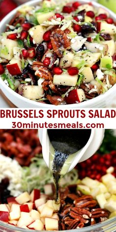 Brussels Sprouts Salad is a quick and easy side dish made with shredded brussels sprouts, crispy apples, cranberries, pomegranate arils, feta cheese, and pecans. #salad #thanksgiving #christmasrecipes #sidedish #30minutemeals Best Salad Recipes, Salad Recipes Video, Salad Recipes For Dinner, Easy Delicious Recipes, Easy Recipes, Shredded Brussel Sprout Salad, Sprouts Salad, Brussels Sprouts, Salads For A Crowd