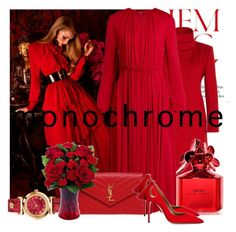 """""""Lady in Red #monochrome"""" by elzbeth2609 ❤ liked on Polyvore featuring Hemingway, Valentino, Yves Saint Laurent, Marc Jacobs, Aquazzura, Versace and monochrome"""