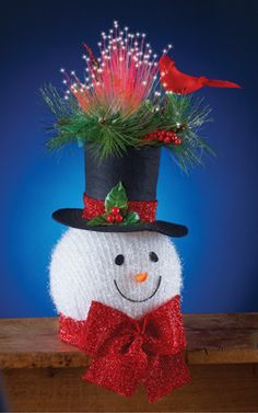 Lighted Frosty Snowman Head Centerpiece