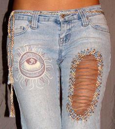 Sun Eye to Om Painted Blue Jeans with Mock by BubbleGunkstress, $65.00