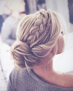 The most perfect braided updo twisted into an elegant low bun. This hairstyle is… The most perfect braided updo twisted into an elegant low bun. This hairstyle is…,Braids The most perfect braided updo twisted. Braided Hairstyles For Wedding, Pretty Hairstyles, Updo For Long Hair, Updo Hairstyles For Prom, Updos For Medium Length Hair, Wedding Headpieces, Low Bun Wedding Hair, Wedding Veils, Bridal Hair Braids