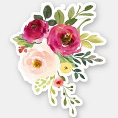 """Watercolor Burgundy Pink Flower Bouquet"" Stickers by junkydotcom Pink Flower Bouquet, Floral Bouquets, Pink Flowers, Art Flowers, Flower Nails, Flowers Garden, Paper Flowers, Beautiful Flowers, Flowers Background"