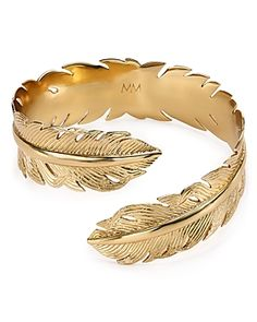 Birds of a feather flock to this elegant Melinda Maria cuff in polished gold-plated brass. * gold-plated brass * diameter * No closure * Photo may have been enlarged and/or enhanced * Web ID: 1117205 Feather Jewelry, Cuff Jewelry, Gold Jewelry, Jewelry Accessories, Jewelry Box, 14k Bracelet, Beaded Bracelets, Bangles, Bracelet Designs