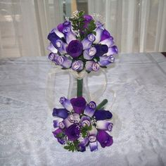 Purple wedding bouquets Purple Wedding Bouquets, Wooden Flowers, Pretty Flowers, Dream Wedding, Centerpieces, Wreaths, Crafts, Beautiful Flowers, Manualidades